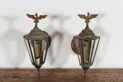 Pair Austrian Eagle Mounted Brass Wall Lanterns - 2052207