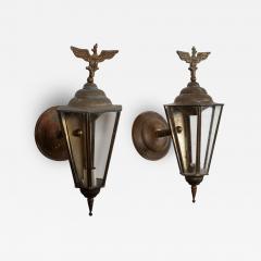 Pair Austrian Eagle Mounted Brass Wall Lanterns - 2053024