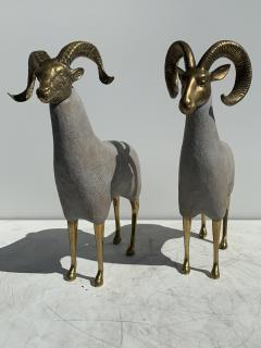 Pair Brass Sheep Ram Sculptures - 1133482