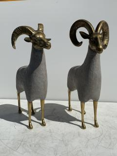 Pair Brass Sheep Ram Sculptures - 1133483