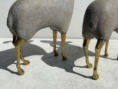 Pair Brass Sheep Ram Sculptures - 1133495