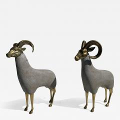 Pair Brass Sheep Ram Sculptures - 1133699