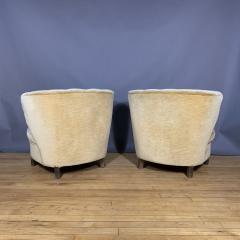 Pair C1940 Scandinavian Low Slipper Chairs Yellow Velvet - 1681780