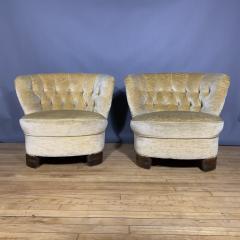Pair C1940 Scandinavian Low Slipper Chairs Yellow Velvet - 1681781