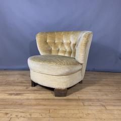 Pair C1940 Scandinavian Low Slipper Chairs Yellow Velvet - 1681782
