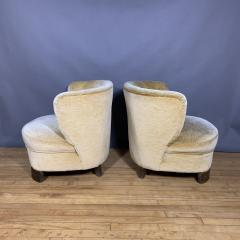 Pair C1940 Scandinavian Low Slipper Chairs Yellow Velvet - 1681783
