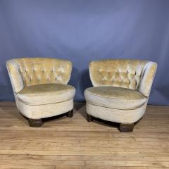 Pair C1940 Scandinavian Low Slipper Chairs Yellow Velvet - 1681784