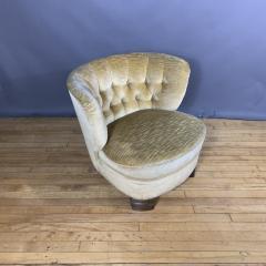 Pair C1940 Scandinavian Low Slipper Chairs Yellow Velvet - 1681785
