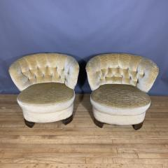 Pair C1940 Scandinavian Low Slipper Chairs Yellow Velvet - 1681786