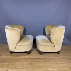 Pair C1940 Scandinavian Low Slipper Chairs Yellow Velvet - 1681787