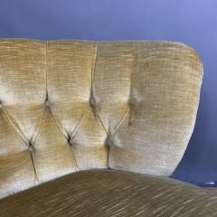 Pair C1940 Scandinavian Low Slipper Chairs Yellow Velvet - 1681788