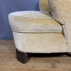 Pair C1940 Scandinavian Low Slipper Chairs Yellow Velvet - 1681789