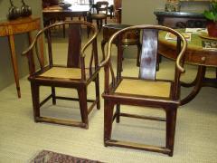 Pair Chinese horseshoe back chairs - 2075414