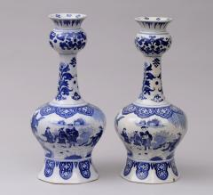 Pair Dutch Delft Bottle Vases - 143016