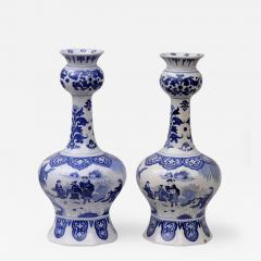Pair Dutch Delft Bottle Vases - 143775