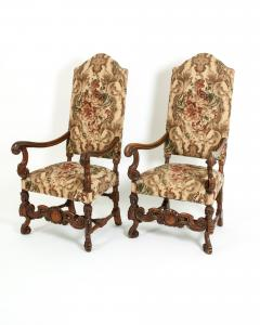 Pair Dutch Hand Carved Walnut Wood High Back Side Armchairs - 1131633