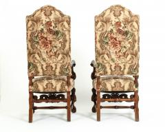 Pair Dutch Hand Carved Walnut Wood High Back Side Armchairs - 1131639