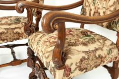 Pair Dutch Hand Carved Walnut Wood High Back Side Armchairs - 1131647