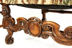Pair Dutch Hand Carved Walnut Wood High Back Side Armchairs - 1131653