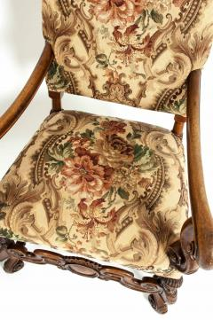 Pair Dutch Hand Carved Walnut Wood High Back Side Armchairs - 1131654