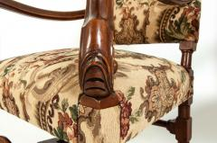 Pair Dutch Hand Carved Walnut Wood High Back Side Armchairs - 1131656