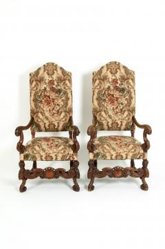 Pair Dutch Hand Carved Walnut Wood High Back Side Armchairs - 1131658