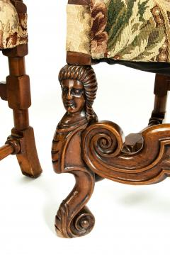 Pair Dutch Hand Carved Walnut Wood High Back Side Armchairs - 1131661