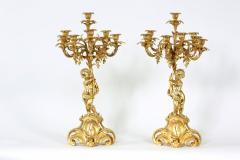 Pair Eight Armed Gilt Bronze Candelabras - 1337235