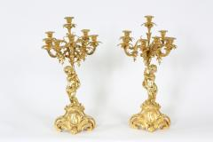 Pair Eight Armed Gilt Bronze Candelabras - 1337236