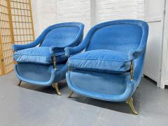 Pair French 1950s Brass and Velvet Lounge Chairs - 2112167