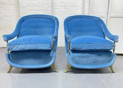 Pair French 1950s Brass and Velvet Lounge Chairs - 2112168