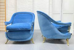 Pair French 1950s Brass and Velvet Lounge Chairs - 2112171