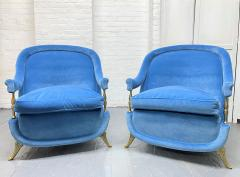 Pair French 1950s Brass and Velvet Lounge Chairs - 2112172