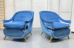 Pair French 1950s Brass and Velvet Lounge Chairs - 2112173