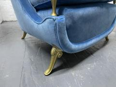 Pair French 1950s Brass and Velvet Lounge Chairs - 2112174