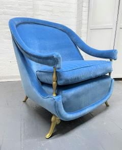 Pair French 1950s Brass and Velvet Lounge Chairs - 2112175