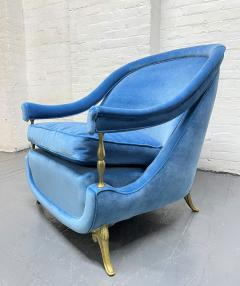 Pair French 1950s Brass and Velvet Lounge Chairs - 2112176