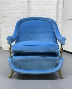 Pair French 1950s Brass and Velvet Lounge Chairs - 2112177