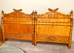 Pair French Faux Bamboo Beds - 1606815