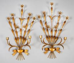 Pair French Gilt Metal Wall Sconces - 1255434