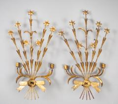 Pair French Gilt Metal Wall Sconces - 1255436