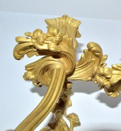 Pair French Louis XV style Gilded Bronze Sconces - 1891441