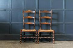 Pair French Oak Provincial Rush Bobbin Chairs - 1975690