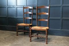 Pair French Oak Provincial Rush Bobbin Chairs - 1975710