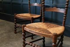 Pair French Oak Provincial Rush Bobbin Chairs - 1975717