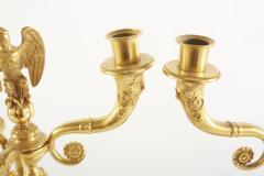 Pair Gilt Bronze Marble Base Three Arms Candelabra - 2108231