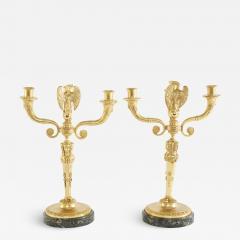 Pair Gilt Bronze Marble Base Three Arms Candelabra - 2109924
