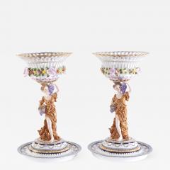 Pair Gilt Gold Glazed Porcelain Decorative Pieces - 2109926
