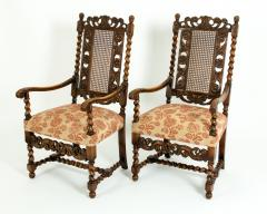 Pair Hand Carved Walnut Cane Back Armchairs Corner Chairs - 1125278
