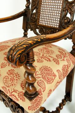 Pair Hand Carved Walnut Cane Back Armchairs Corner Chairs - 1125279